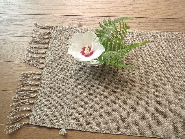 生成りの麻の手織りテーブルセンター(2)の画像1枚目