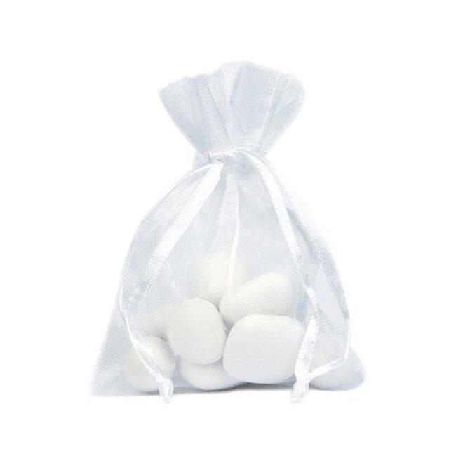 20枚入り オーガンジー巾着袋 【ホワイト 白色】 アクセサリーバック ラッピング 無地 シンプル ギフトの画像1枚目