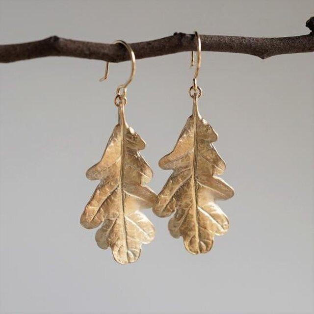 Oak leaf earrings {EP053K10}の画像1枚目