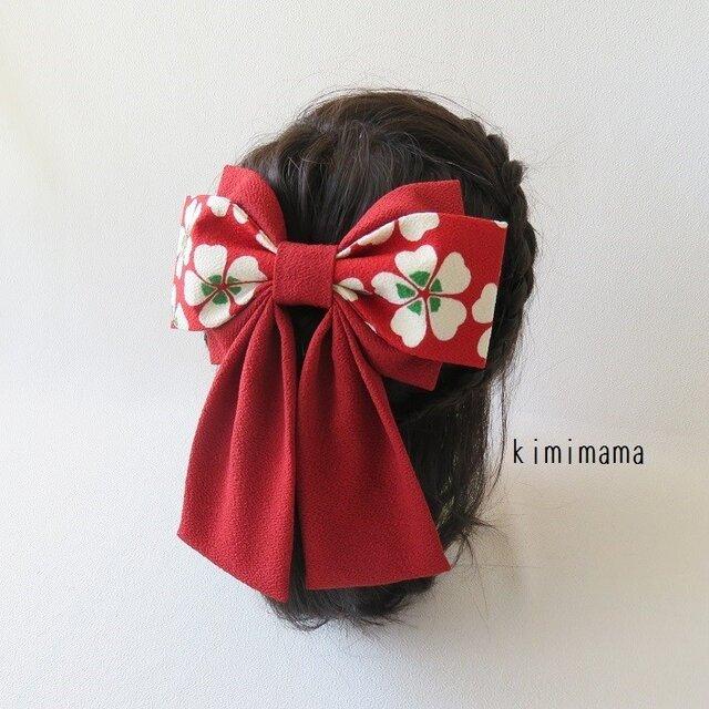 髪飾り 縮緬 Wリボンはいからさん(桜&深赤)着物・袴・浴衣・卒業式・和装小物     の画像1枚目