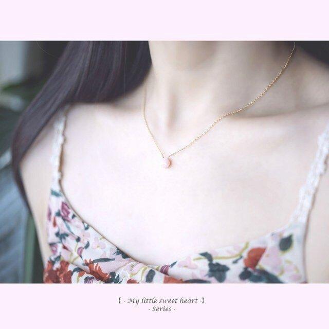 再販】ピンクオパールのマロンカットネックレス~Marielleの画像1枚目