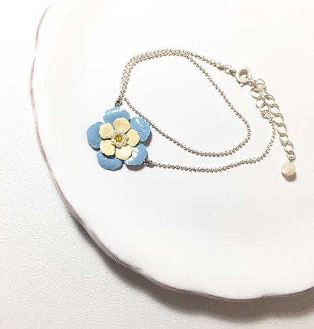 青いお花の2連ブレスレット シルバーの画像1枚目