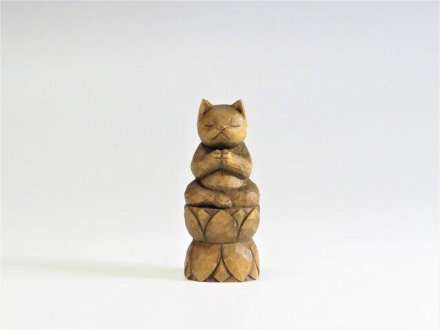 木彫りの合掌ねこ 蜜蝋仕上げ 猫仏1713の画像1枚目