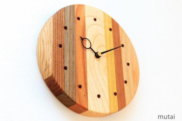 寄せ木の壁掛け時計 円形35の画像1枚目