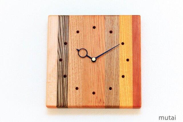 寄せ木の壁掛け時計 四角7の画像1枚目