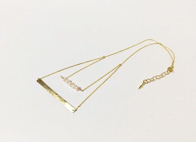真鍮と淡水パールの2連ネックレスの画像1枚目