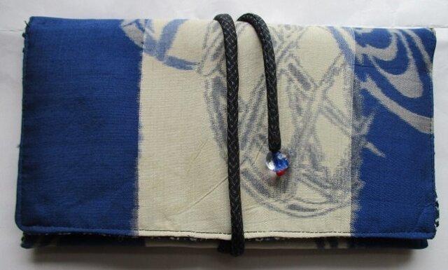 送料無料 着物リメイク 銘仙の着物で作った和風財布 2488の画像1枚目