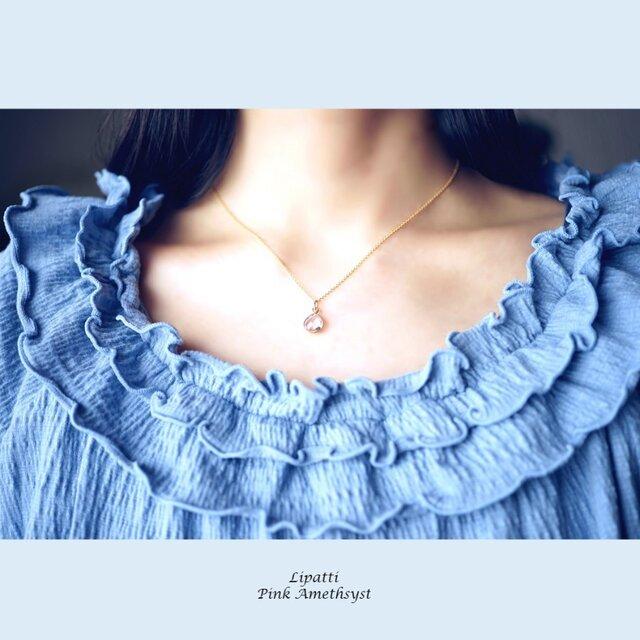 ピンクアメジストのマロン枠留めネックレス ~Carlottaの画像1枚目