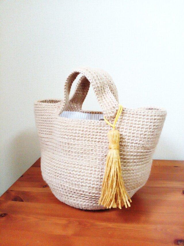 選べるシンプルな模様編みボーダーの麻ひもバックの画像1枚目