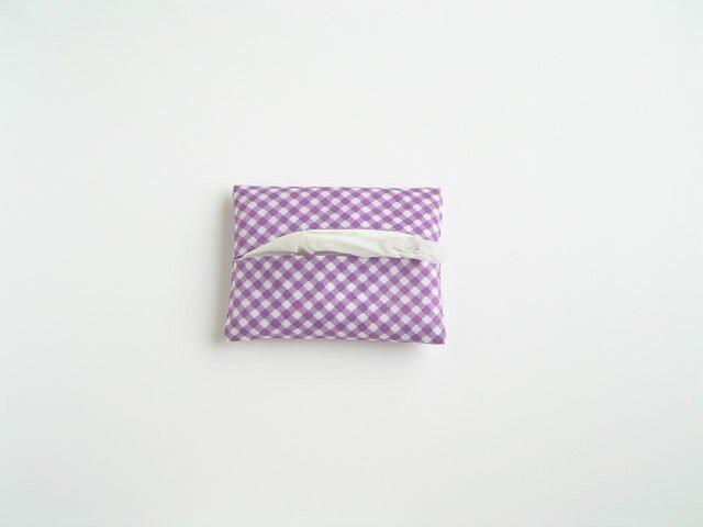 ギンガムのティッシュケース(紫)の画像1枚目