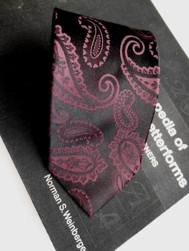 ネクタイシャドーペイズリーワイン シルク(絹)100%の画像1枚目