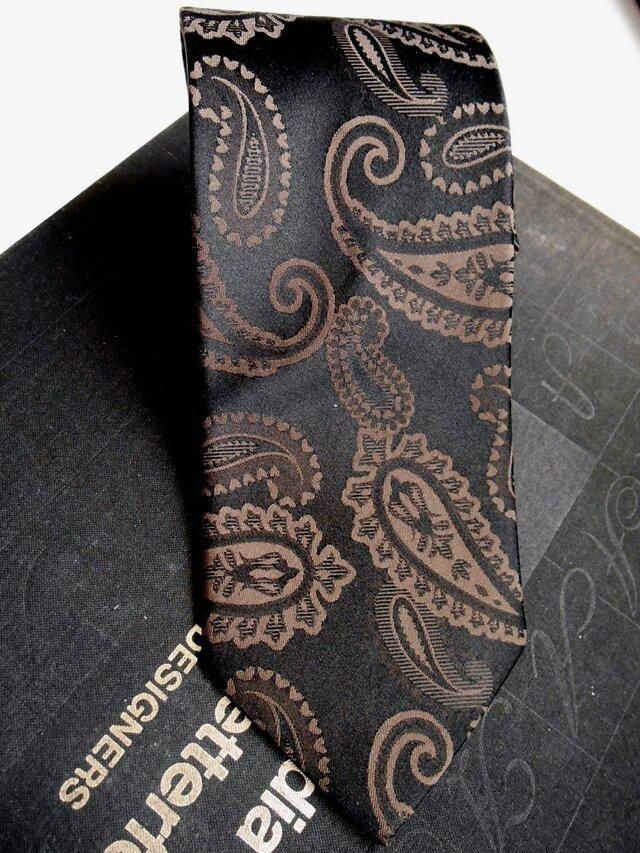 ネクタイシャドーペイズリーブラウン シルク(絹)100%の画像1枚目