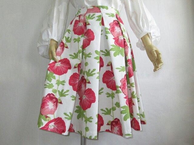 タチアオイのプリント タックフレアースカートの画像1枚目
