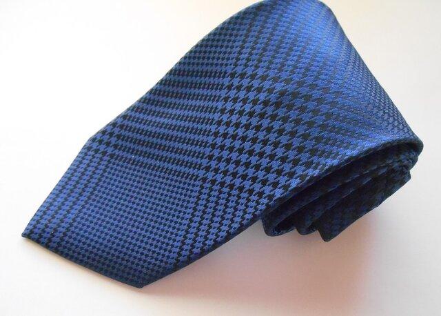 ネクタイ グレンチェック ブルー  シルク(絹)100%の画像1枚目