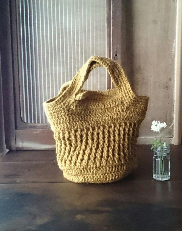 麻糸と手織り布のリバーシブルバッグの画像1枚目