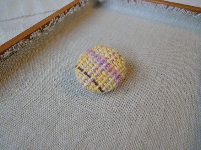 手織り ブローチ 黄色シリーズ 丸・小3の画像1枚目