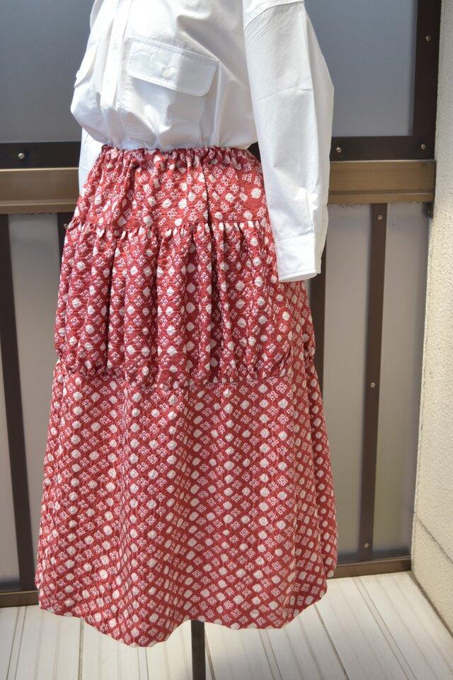 着物リメイク ギャザーがポイントのスカート J-10の画像1枚目