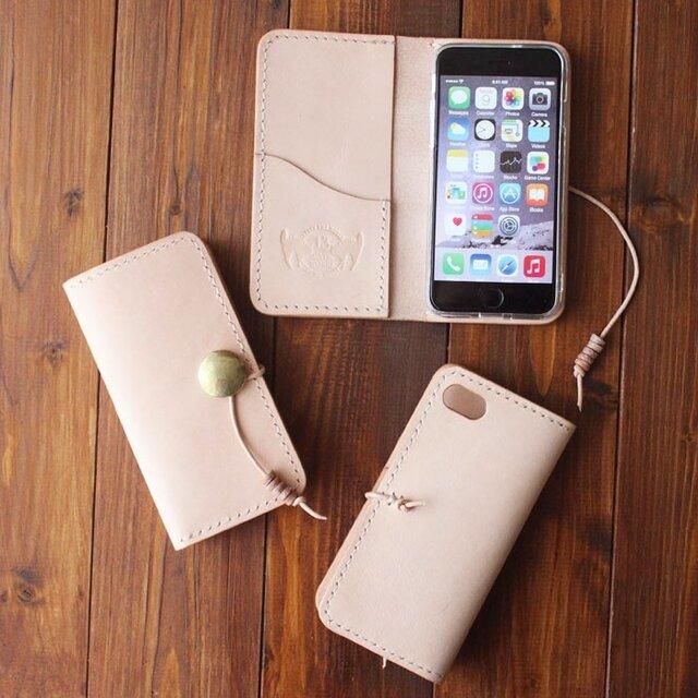 ヌメ革 手縫い 手帳型コンチョ付スマートフォンケース iPhone用 ※他機種応相談の画像1枚目