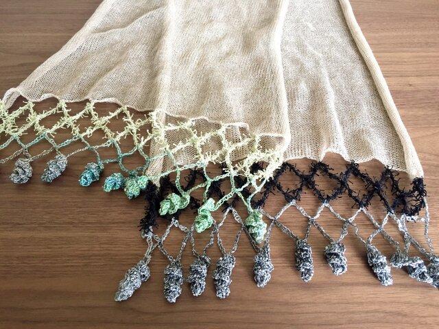 リネンの機械編みストール ブルー系×グレー系の画像1枚目