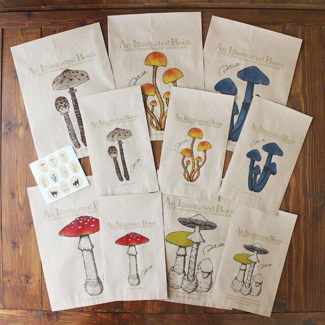 ●キノコ図鑑シリーズ2●アンティークきのこ図鑑のラッピング袋の画像1枚目