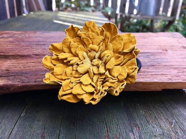 革花のヘアゴム 2Lサイズ  カラシの画像1枚目