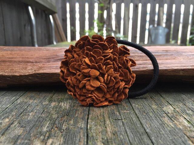 革花のヘアゴム LSPサイズ  キャメルの画像1枚目