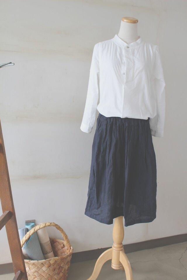1ee03cf87403e0 【受注生産】ギャザーロングスカート*リトアニアリネン*ダークブルーの画像1