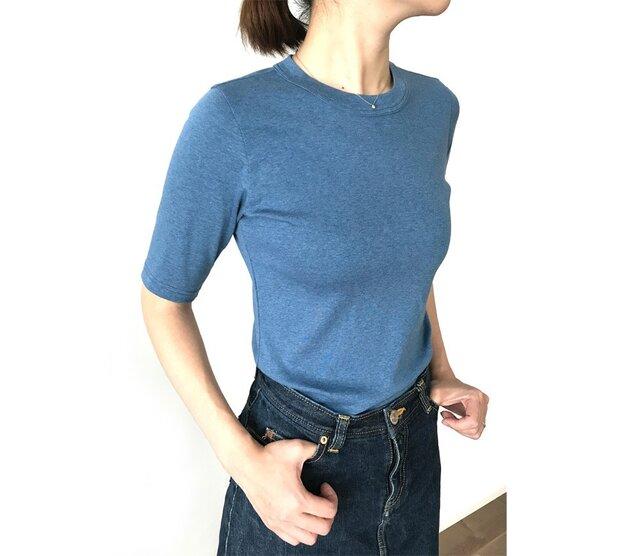 日本製オーガニックコットン 形にこだわった大人の4分袖無地Tシャツ アッシュブルー【サイズ展開有】の画像1枚目