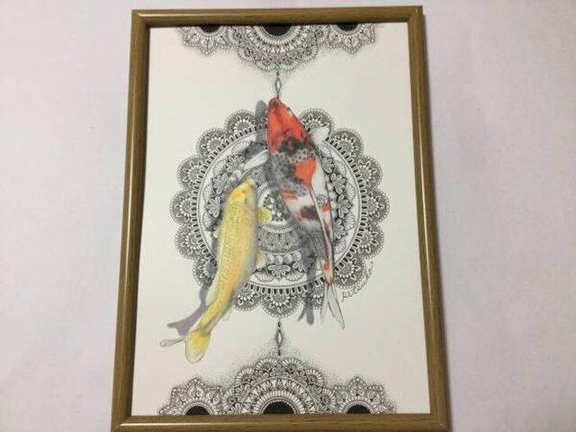 原画 肉筆 一点もの ボールペンアート 錦鯉 「上に向かって泳げ」 額装付き 百貨店作家 人気 ボールペン画 絵画 鯉の絵の画像1枚目