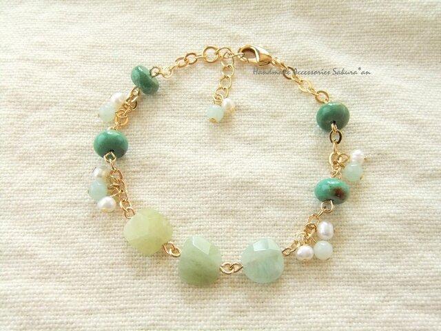 SALE Bracelet ベリル ターコイズ(B0332)の画像1枚目