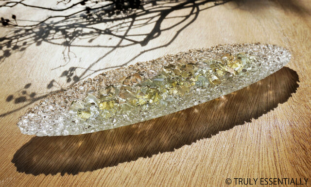 ガラスのインテリアトレイ -「 KAKERAの光 」 ● みどり・28cmの画像1枚目