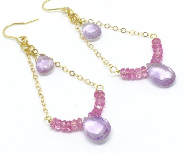 ★女神の光のしずく★ピンクサファイヤ&ピンクアメジストのクラシカルなイヤリングの画像1枚目