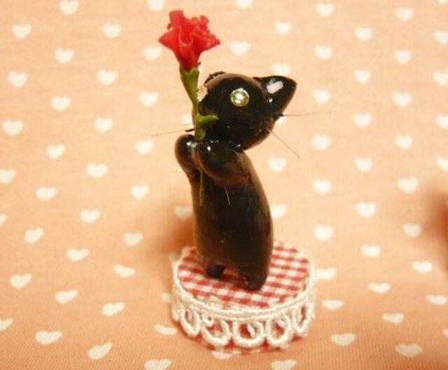 にゃんこのしっぽ○母の日カーネーション○ミニチュア○黒猫2の画像1枚目