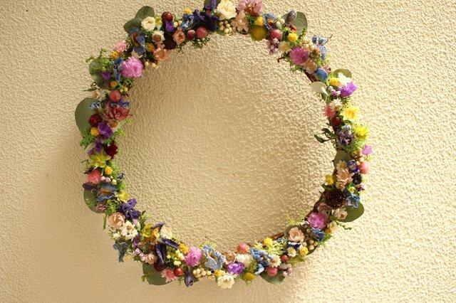 「野の花リース」17cmの画像1枚目