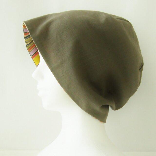 夏に涼しく下地にもなる ゆったりガーゼ帽子 カーキ ランダムストライプ (CGR-009-KST)の画像1枚目