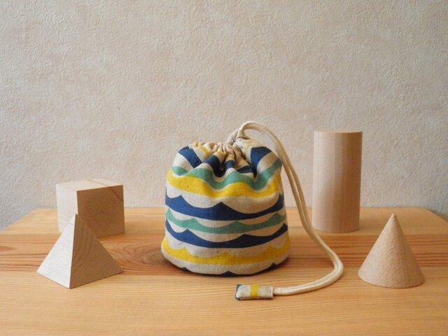 コロンとした小物入れ 青と黄色の波の画像1枚目