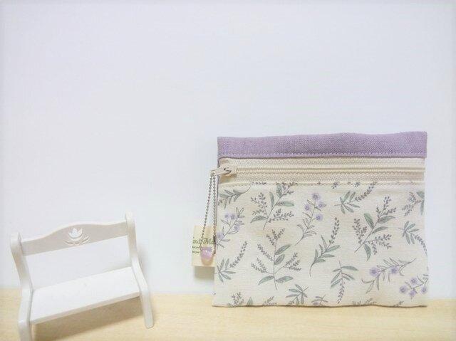 心安らぐ植物柄(ハーフリネン)ティッシュケース付きポーチ(薄紫色)の画像1枚目