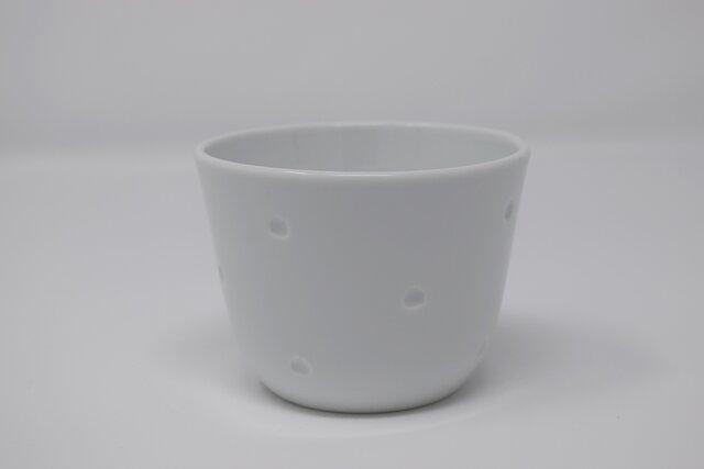 有田焼 博泉窯 白磁点彫蕎麦猪口 中村慎 作 手造り シンプル きれいな白磁 贈り物 ギフト 和食器の画像1枚目