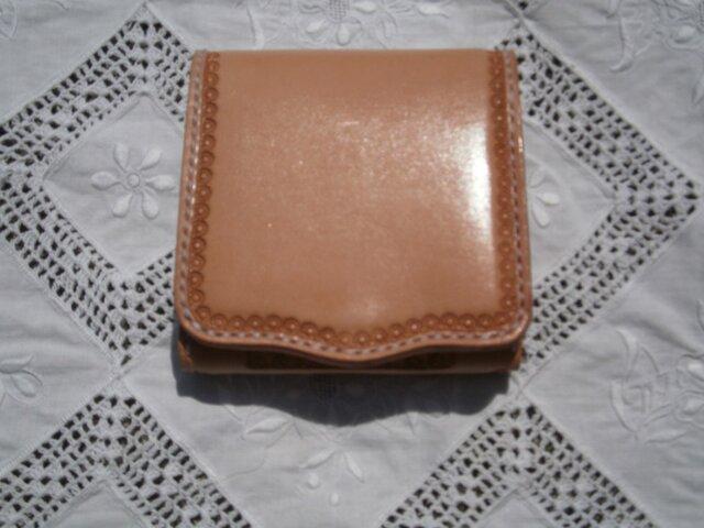 本革(牛革)三つ折り財布(ウォレット)【ハンドメイド】の画像1枚目