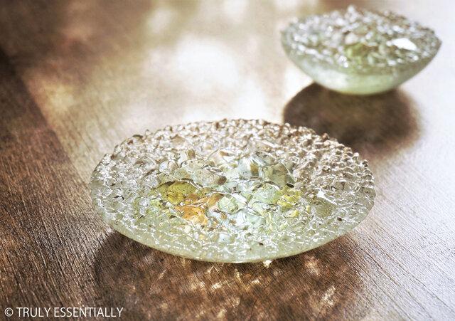 ガラスのアクセサリートレイ -「 KAKERAの光 」 ● みどり・12cmの画像1枚目