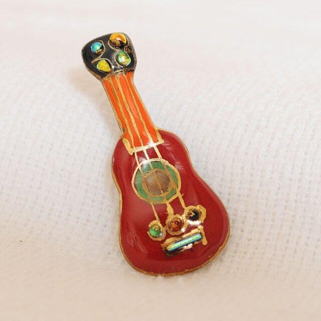 七宝焼ピンブローチ(ピンバッジ,ピンズ) ギター(赤)の画像1枚目