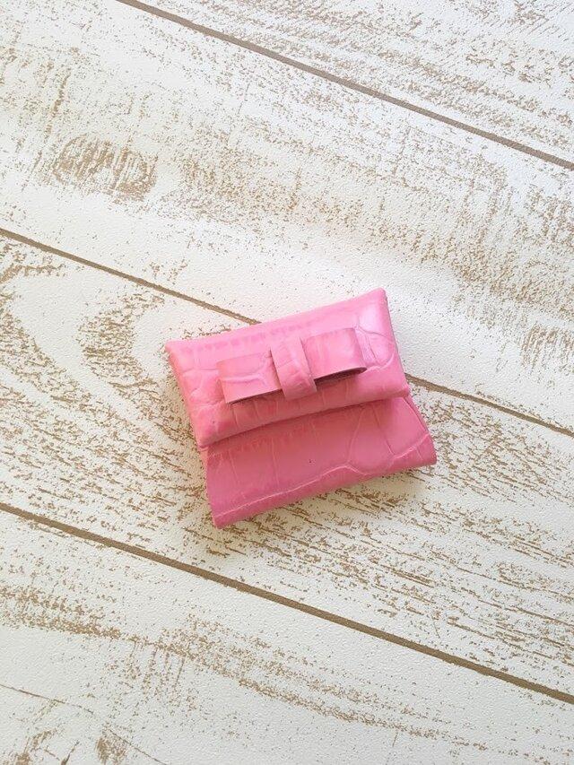 ピンク リボン クロコダイル 型押し 本革 レザー コインケースの画像1枚目