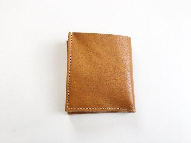 スッキリかっこよく 本革 キャメル 札入れ 2つ折り財布の画像1枚目