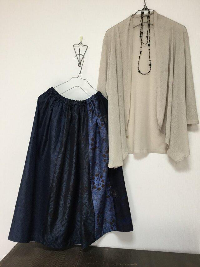 大島紬のスカート*紺の彩りの画像1枚目