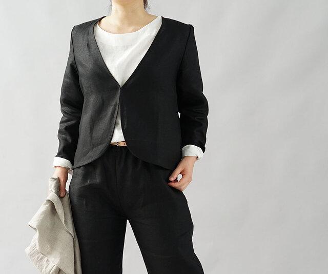 【wafu】中厚 リネン ボレロ カーディガン Vネック 長袖 羽織 アウター/ブラック h001b-bck2の画像1枚目