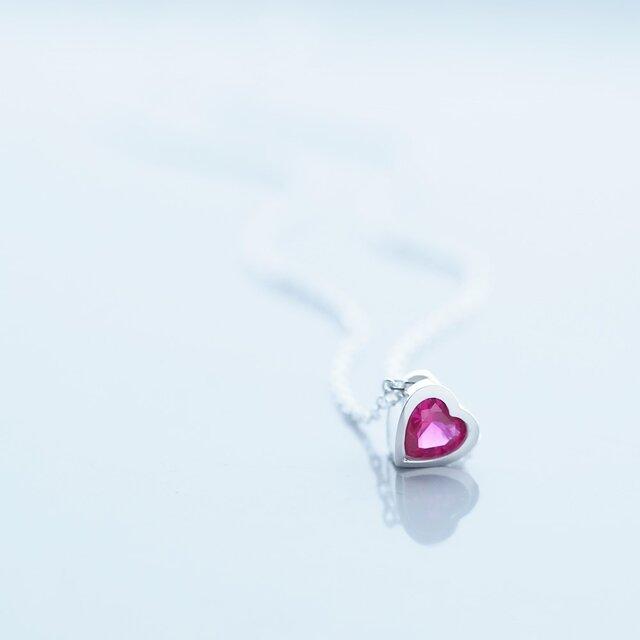 Belita ruby ハート ネックレス シルバー925の画像1枚目