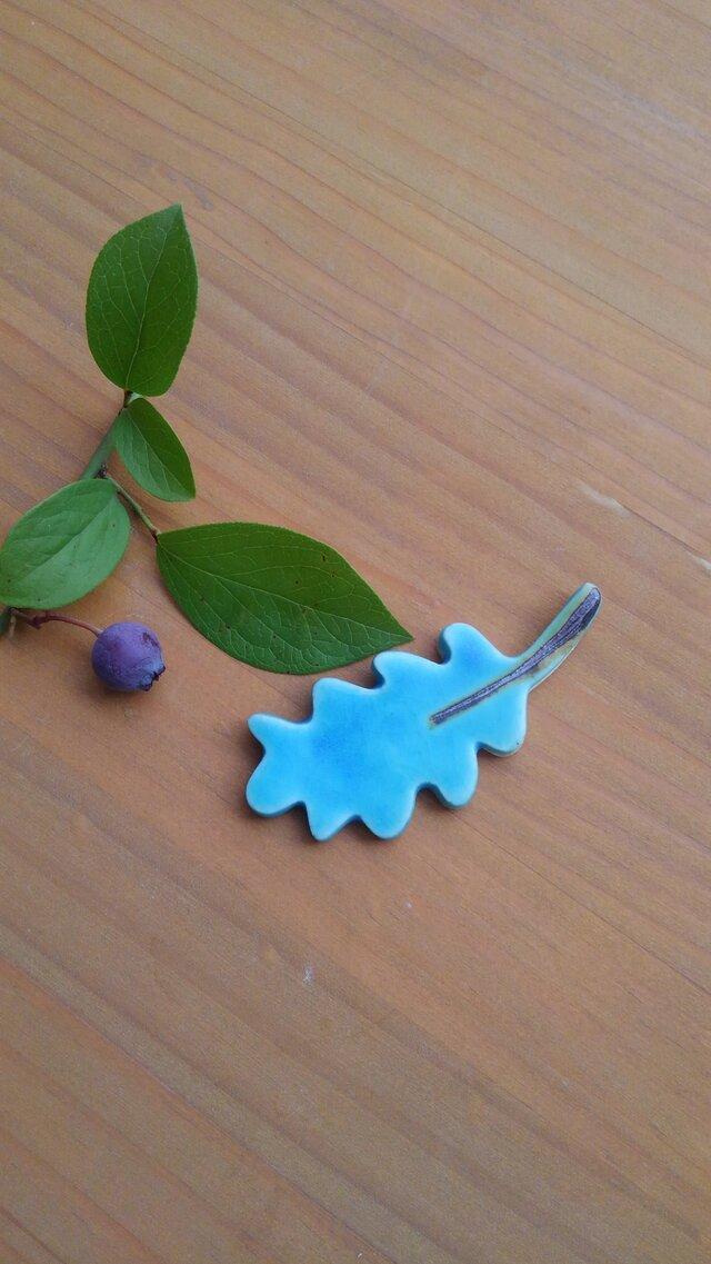葉っぱの箸置き:ターコイズブルーの画像1枚目