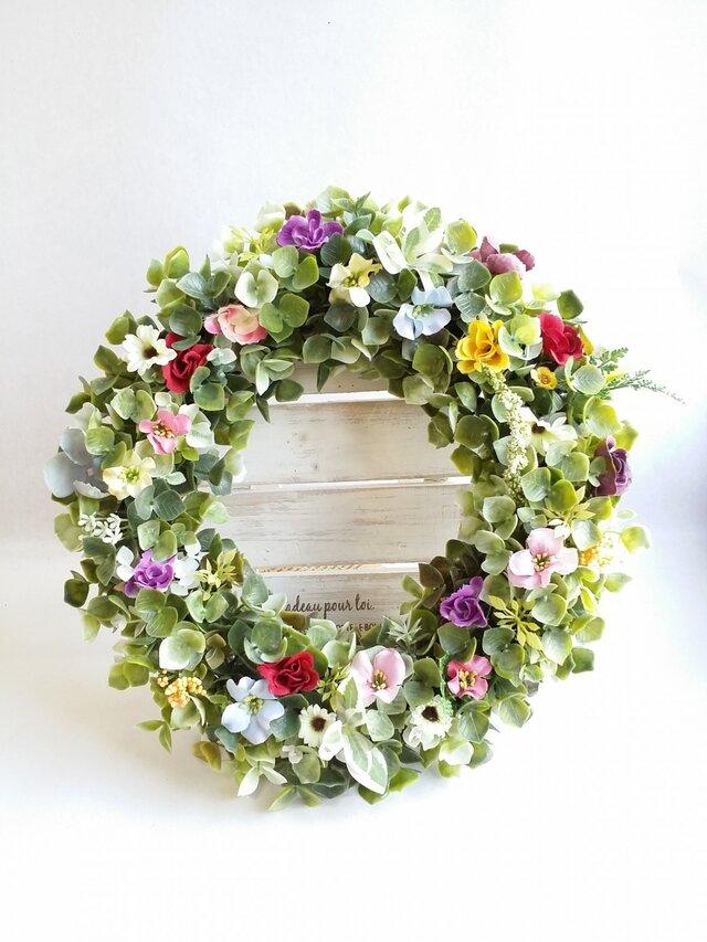 ~flowerMix~*春色~ ナチュラルリース☆の画像1枚目