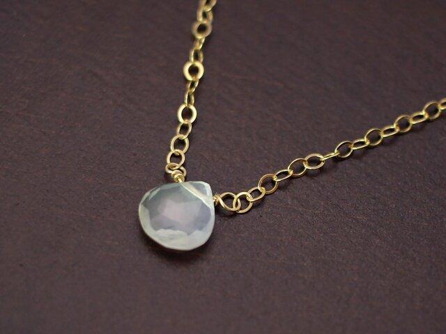 宝石質ムーンストーンのシンプル一粒ネックレス☆14KGFの画像1枚目