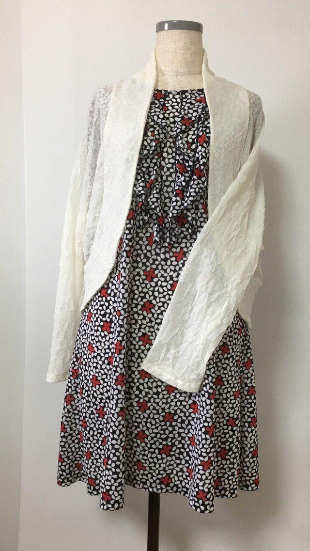 イタリア製生地使用エレガントマーガレットボレロ  羽織りもの アイボリーの画像1枚目